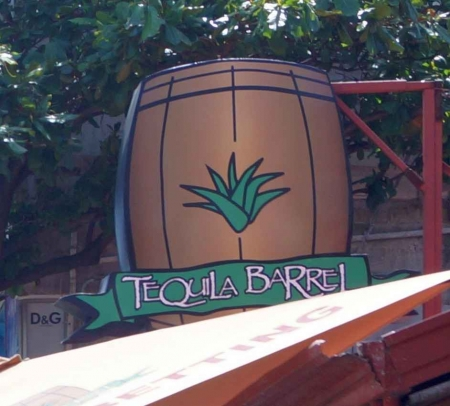 The Tequila Barrel sign outside the bar on Fifth Avenue.