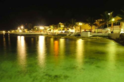 The Cozumel coast at night.