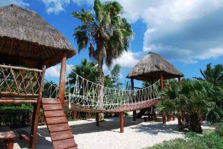 A palapa playground in downtown Cozumel Mexico.