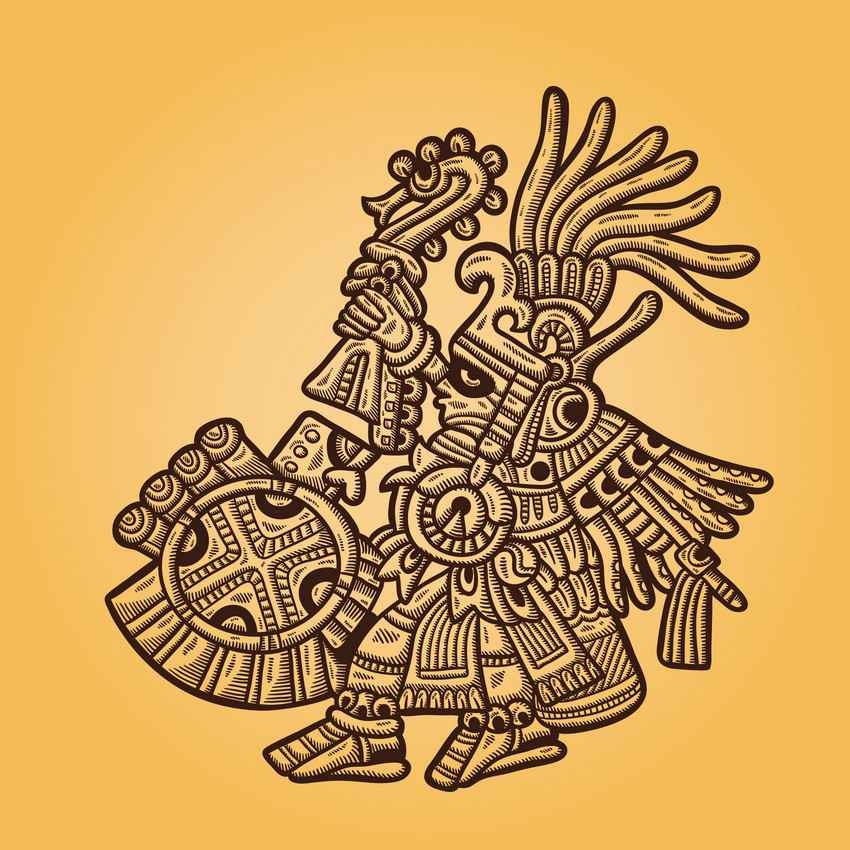 An ancient Mayan art graphic on a yellow gradient background.