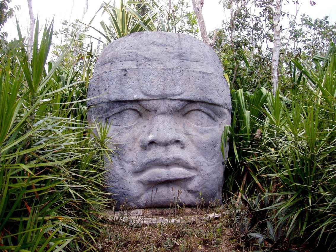 A Mayan head statue in the jungle.