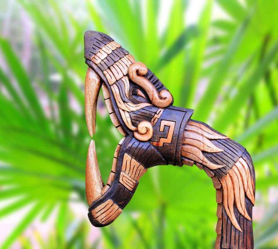 Mayan snake had artwork on a jungle walking stick.