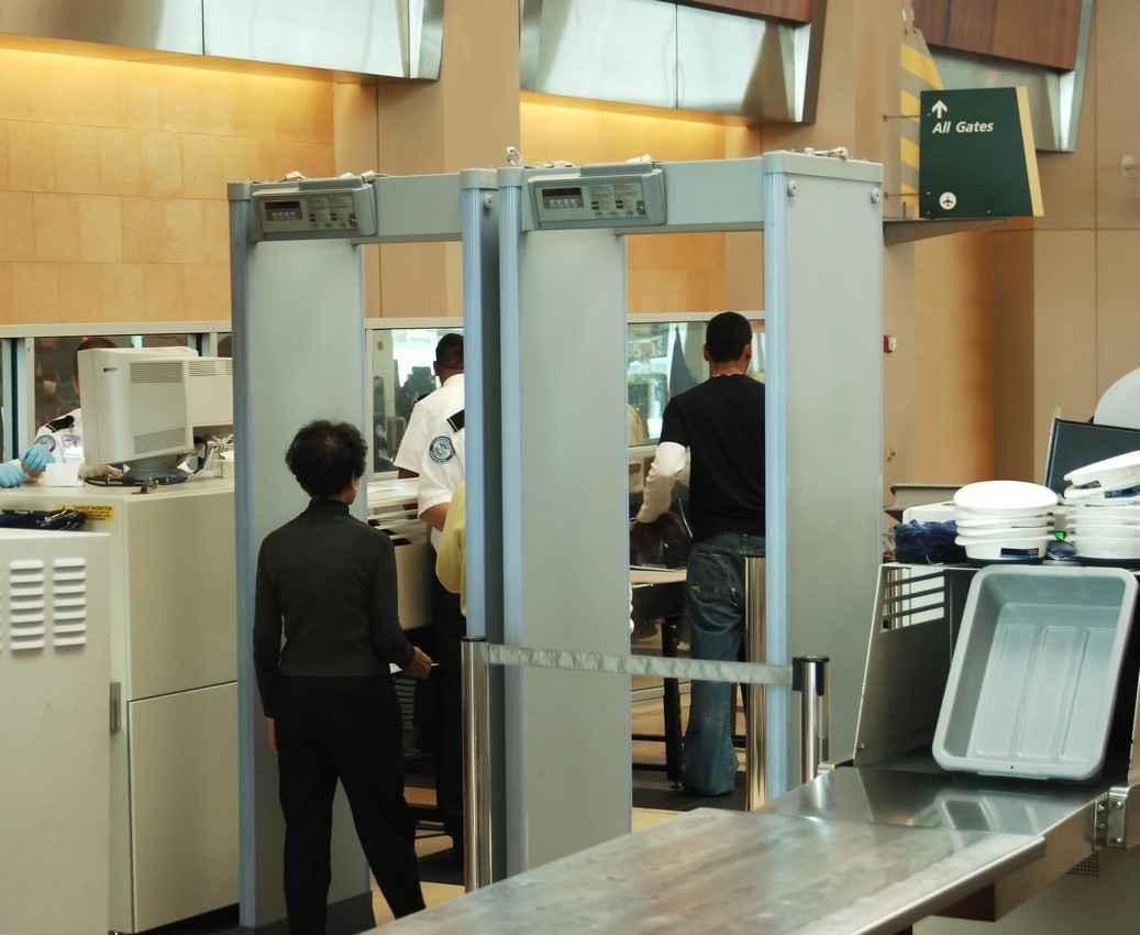 A security checkpoint at the Cancun international Airport.