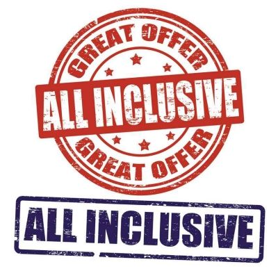 A graphic showing all-inclusive and great offer.