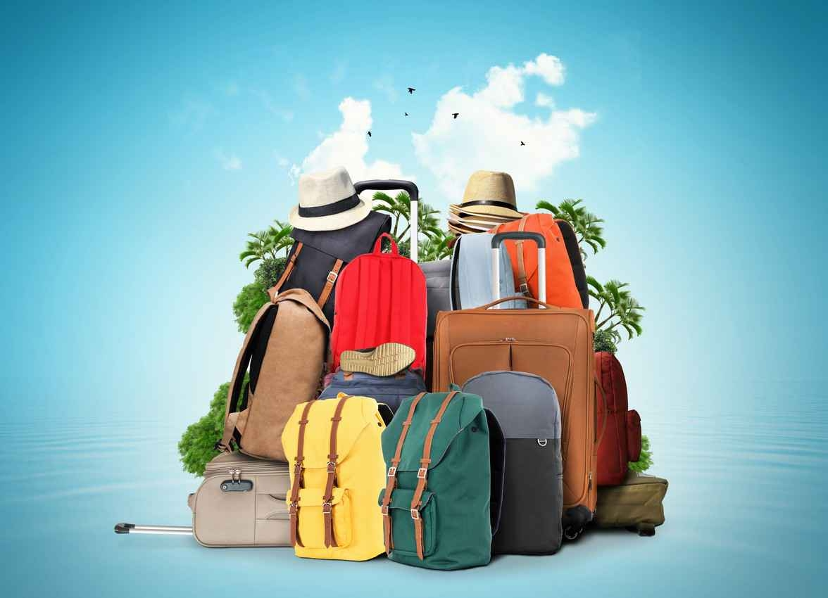 A graphic showing suitcases and travel gear suitable for a vacation package.