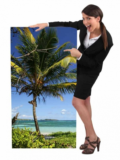A really cute travel agent showing a vacation package poster.