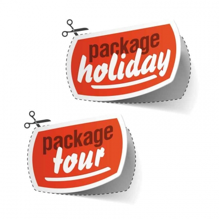 A graphic showing some scissors cutting out a package holiday and a package tour.