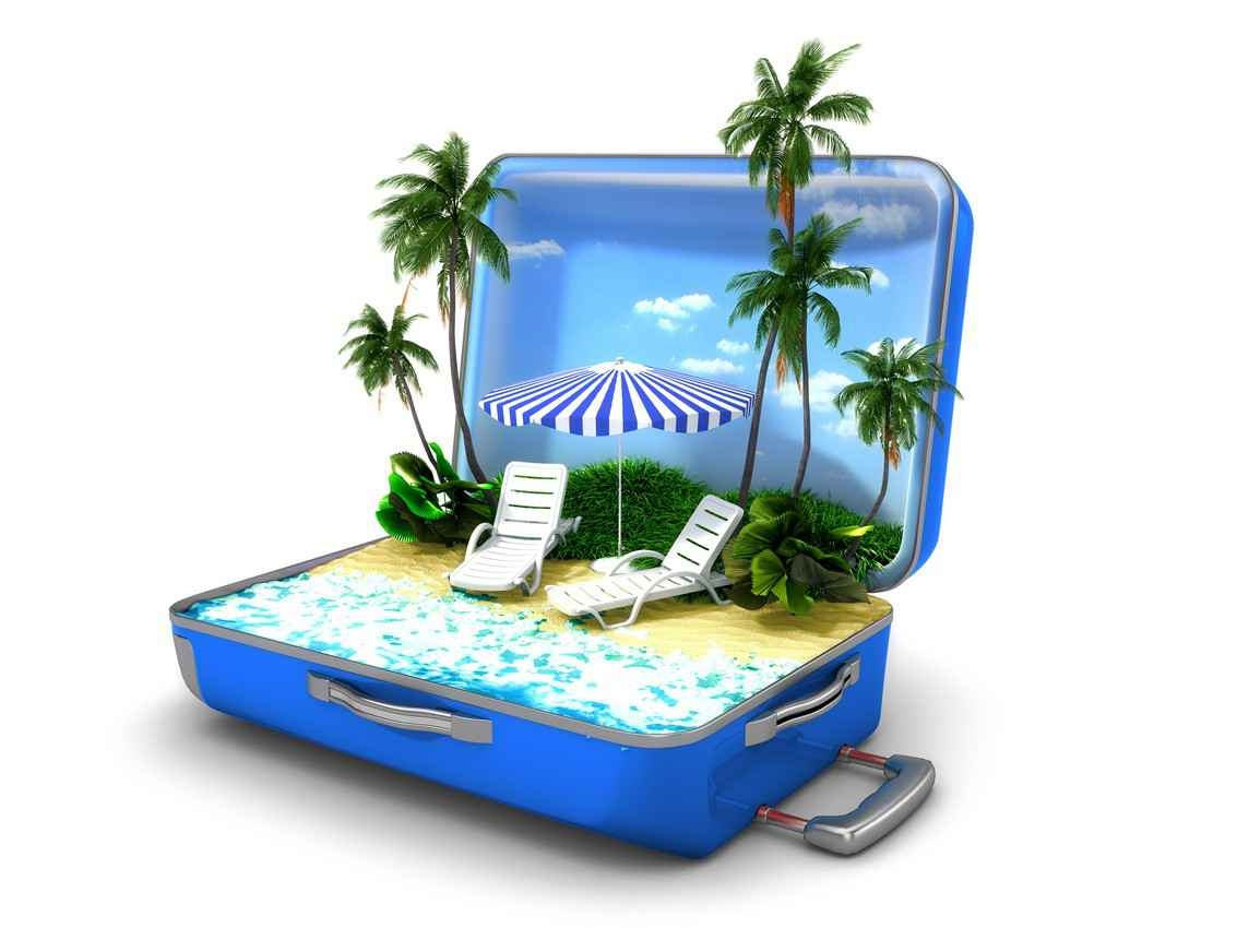 A graphic showing palm trees, a beach, and lounge chairs with an umbrella all in an open suitcase.
