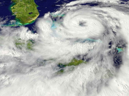 A satellite image of a hurricane over the Caribbean Sea.