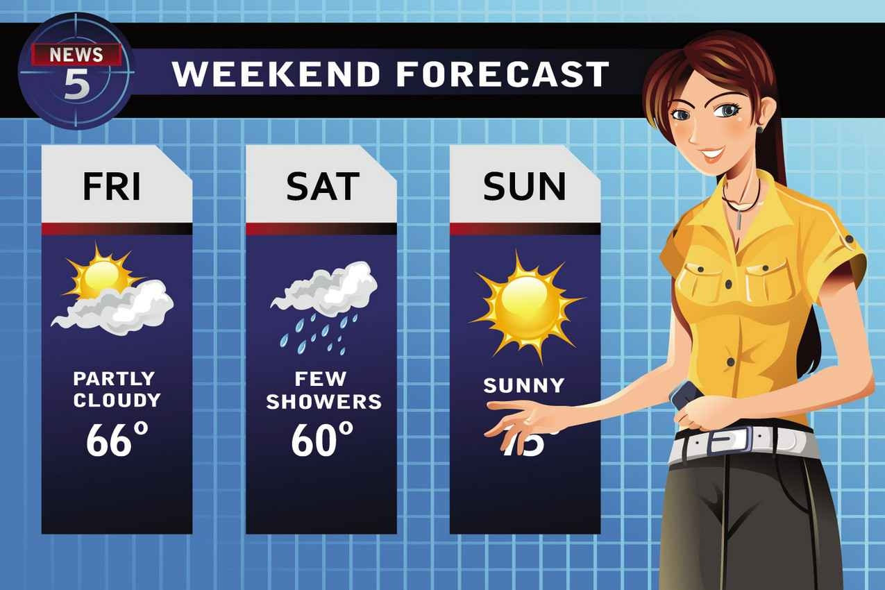 A cartoon of a meteorologist showing the weekend weather forecast.