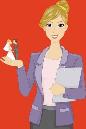 A graphic showing a wedding planner with a clipboard in one hand and a miniature bride and groom in her other hand.