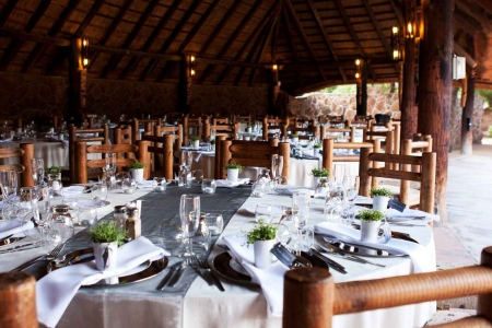 A large wedding venue inside a palapa pavilion near Playa Del Carmen.