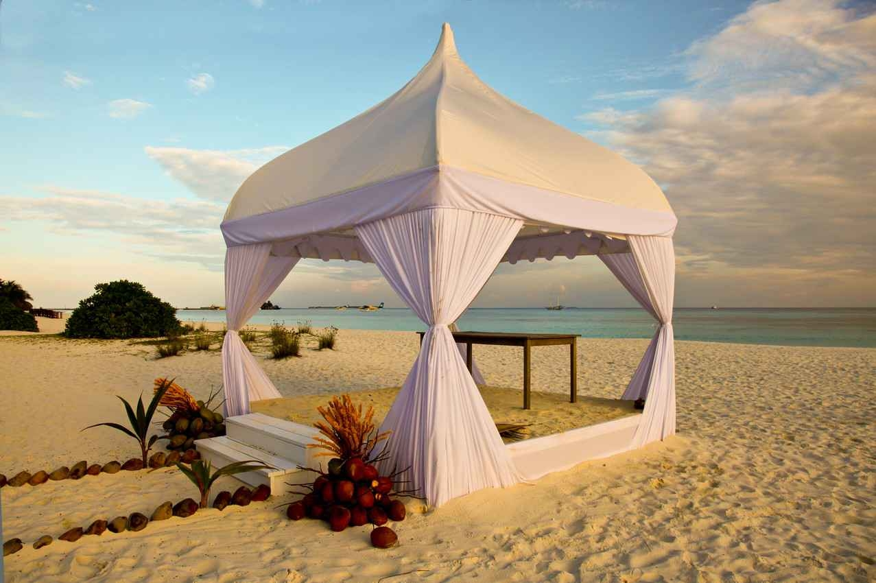 A temporary wedding Chapel on the beach in Playa Del Carmen.