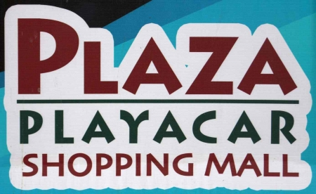 Plaza Playacar shopping mall sign.