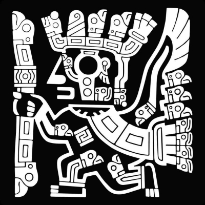 A black-and-white graphic of some ancient Mayan art.