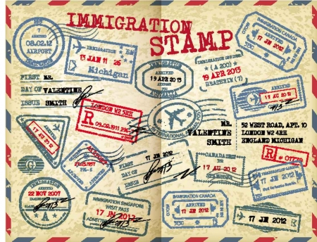 An open passport that has many immigration stamps from many different countries.