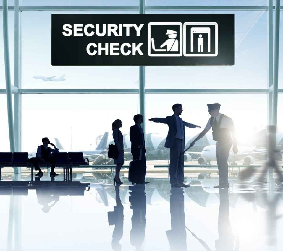 A security checkpoint at an international airport.