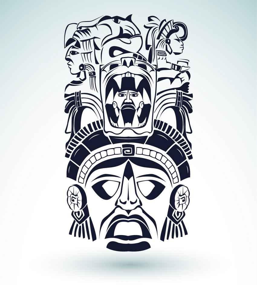Mayan mask and headdress graphic.