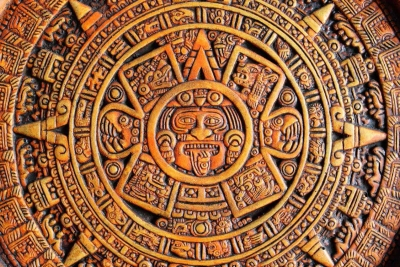 An ancient Mayan calendar made from wood.