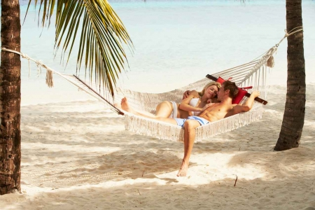 A romantically minded couple sitting in a hammock between two palm trees.