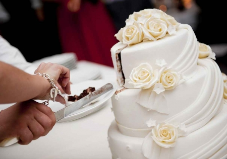 A bride and groom cutting a wedding cake together.