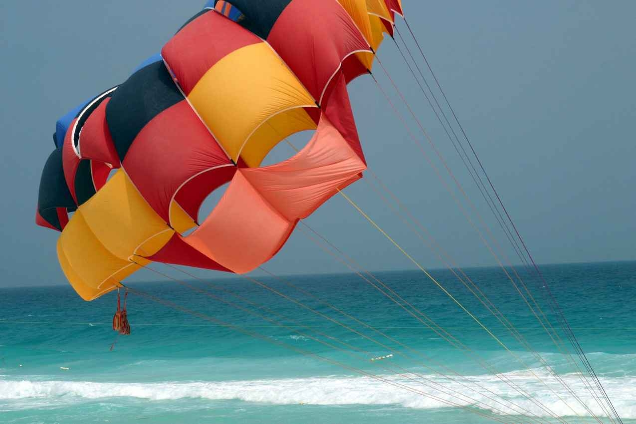 A skydiving parachute on the beach in Playa Del Carmen.