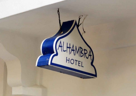 A sign for the Alhambra Hotel.