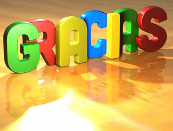 The word GRACIAS in multiple colors.