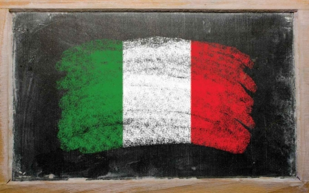 A Mexican flag drawn on a black chalkboard.