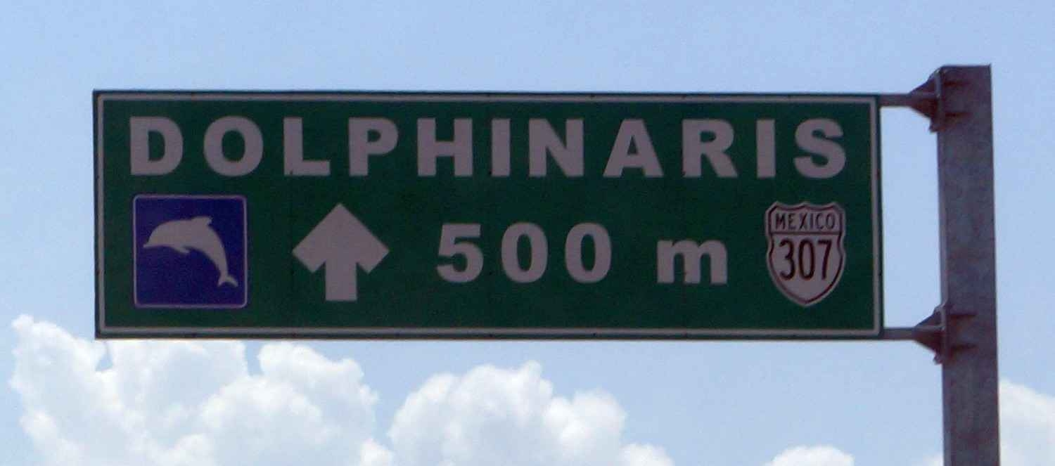 A sign on the freeway that points to Dolphinaris.