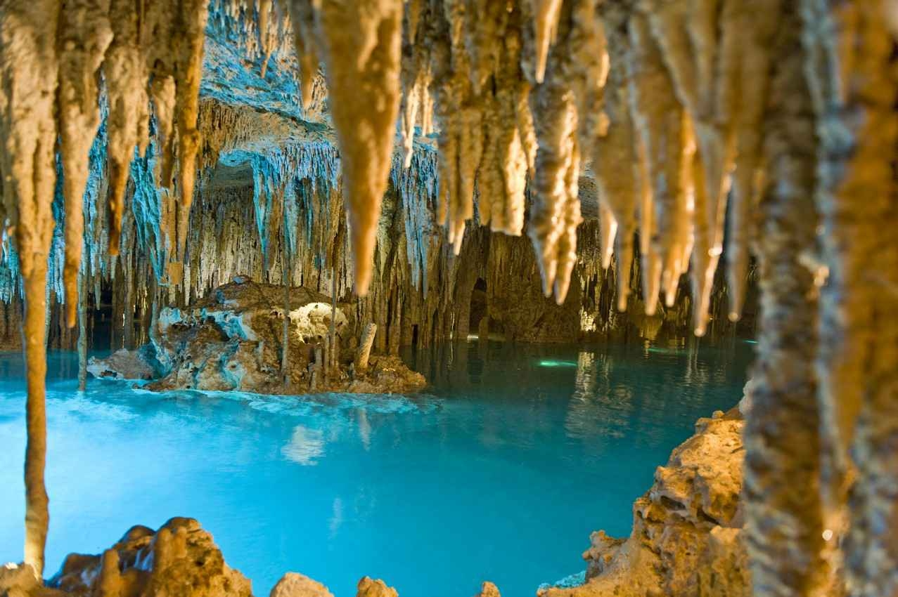 A view from deep inside a cavern at the Xplor theme park near Playa Del Carmen.