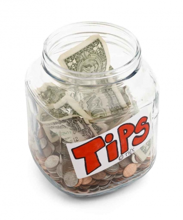Another tip jar with only coins and bills.