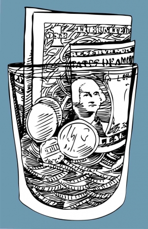 A tip jar cartoon with bills and coins inside of it.