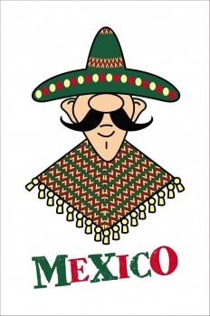 A graphic showing a Mexican man with a big mustache, sombrero, and an ugly Mexican-style blanket.