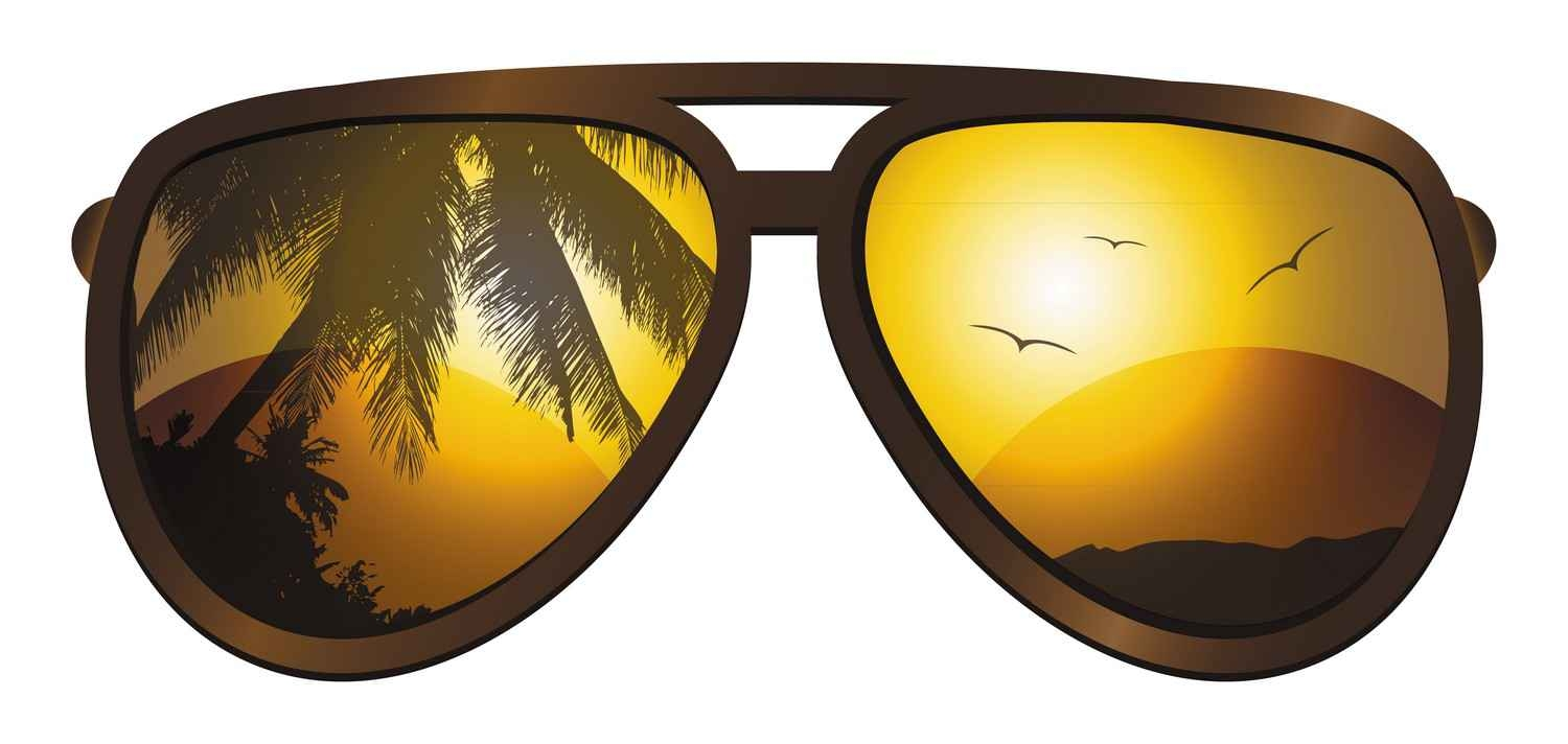 A graphic showing a pair of sunglasses reflecting a palm tree and beach.