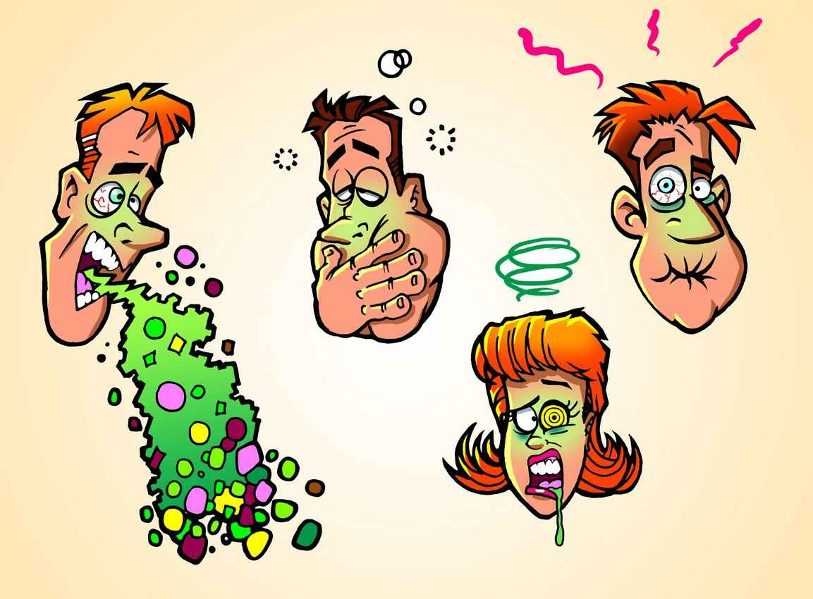 A cartoon of a man in various poses drunk and vomiting.