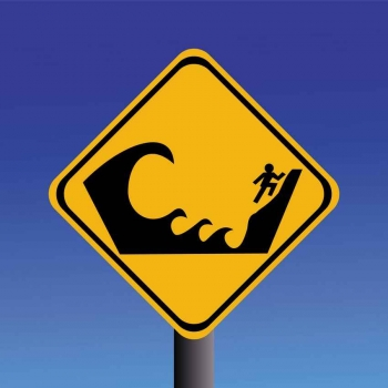 A caution large waves sign.