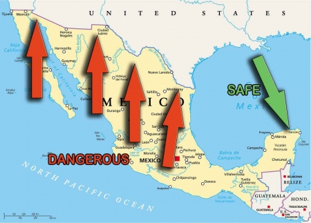 A map of Mexico with the safe and dangerous places highlighted.