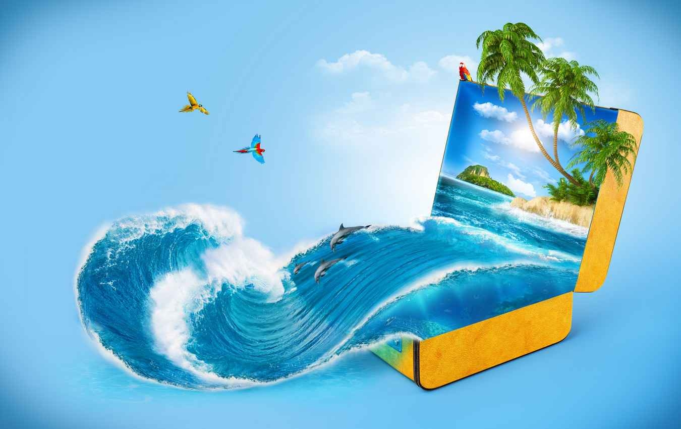 A graphic showing a suitcase with beautiful water and a beach representing a vacation.