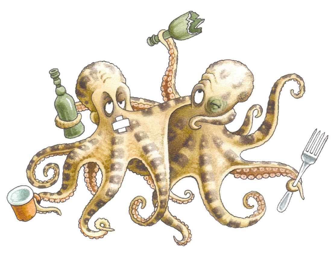 A cartoon of several drunk octopuses fighting each other.