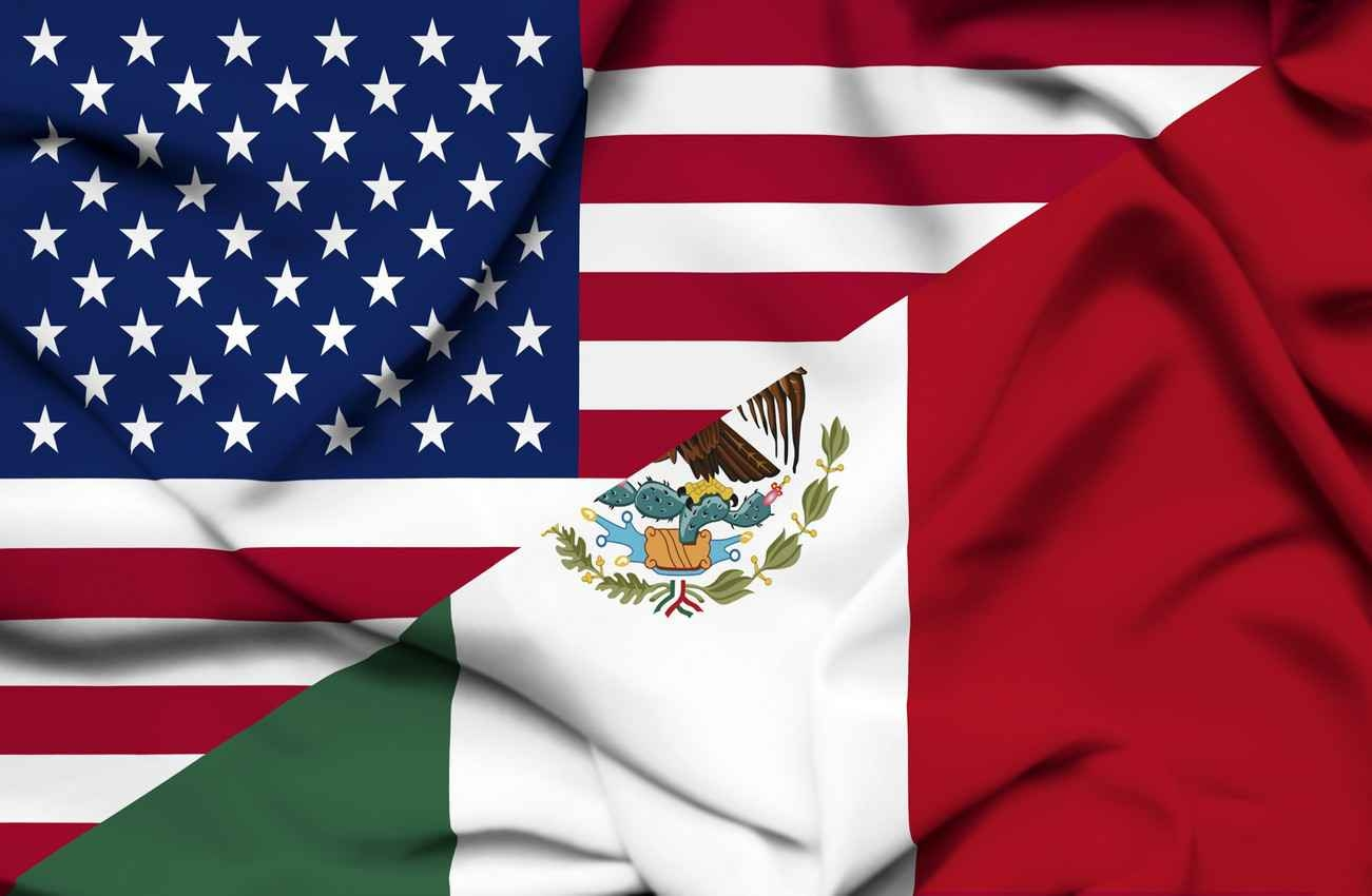 An American flag and a Mexican flag.