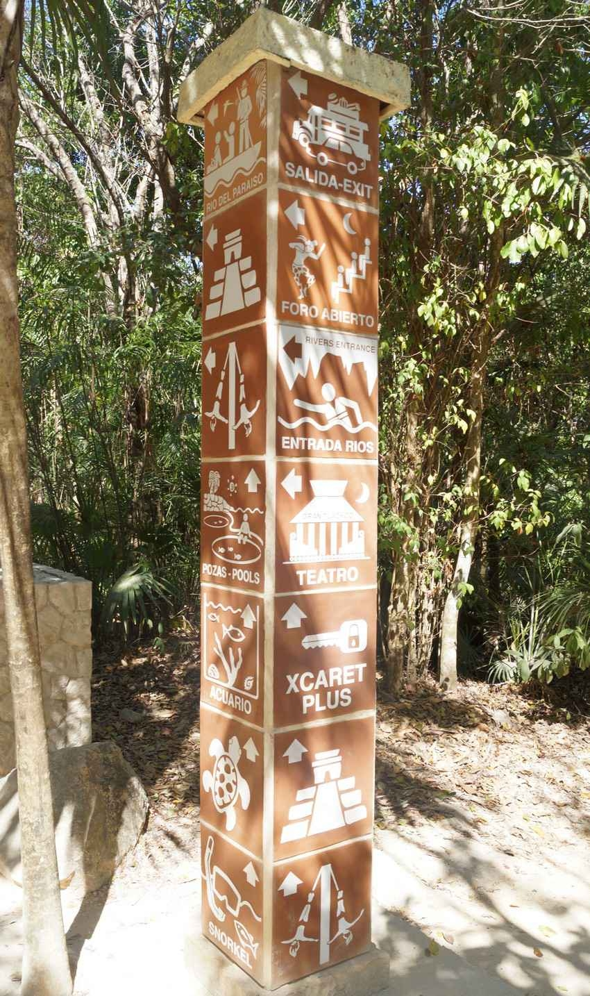 A large sign post in the Xcaret Park.
