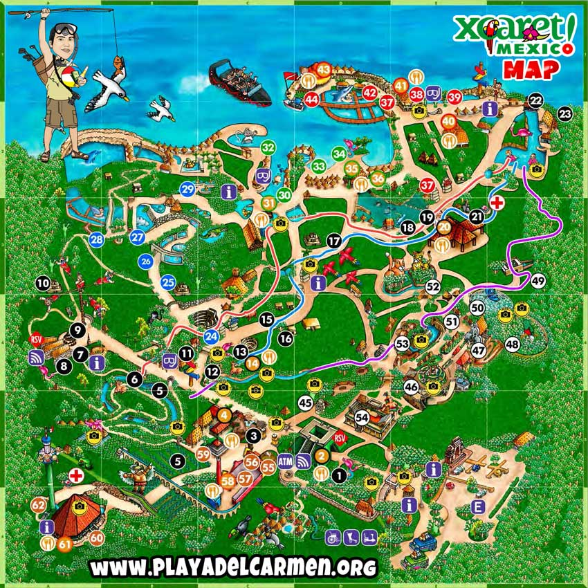 Xcaret Map \u2022 Playadelcarmenorg: Xcaret Mexico Map At Infoasik.co