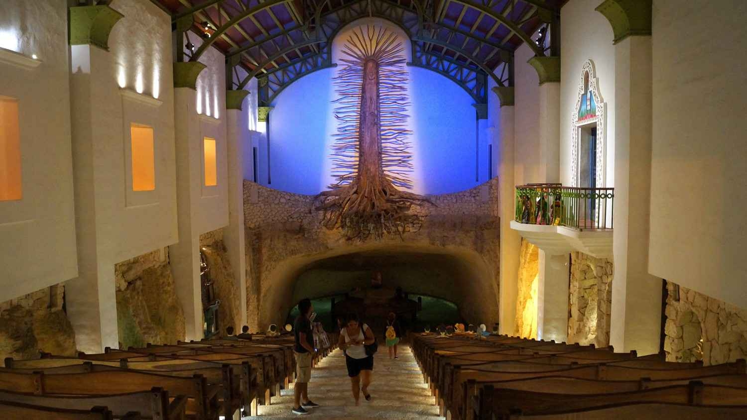 Inside the famous church at Xcaret themepark.