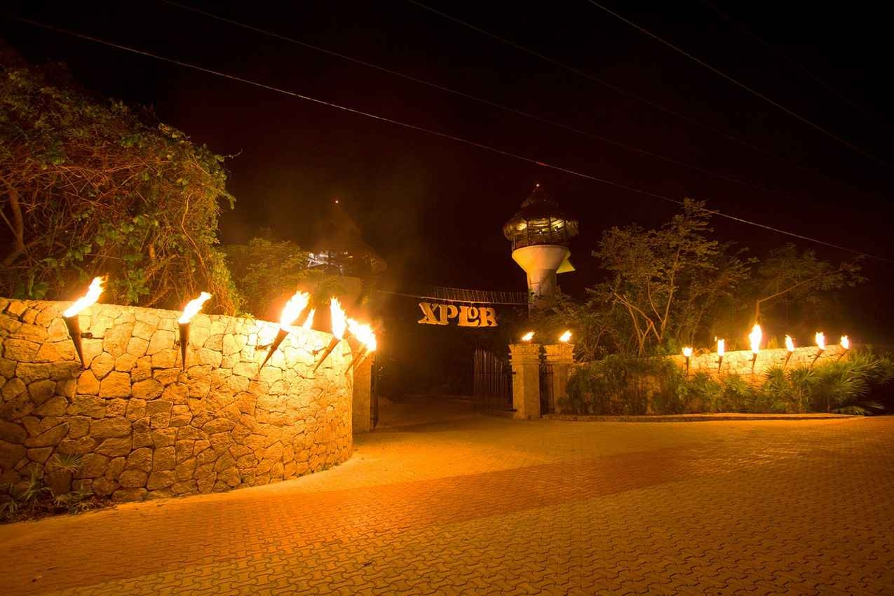 The Xplor entrance at night.