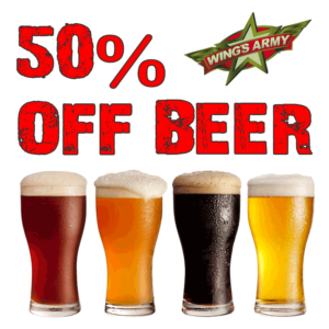 50% Off ALL Beer* @ Wings Army | Playa del Carmen | Quintana Roo | Mexico